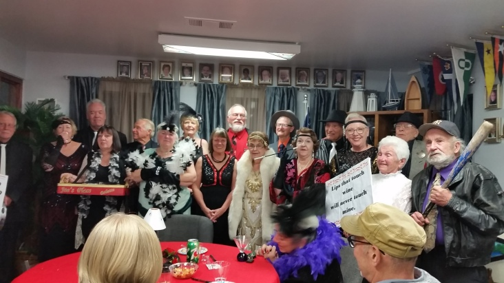 "ROTWHS presents Murder Mystery, BOOT LEG BOOZE WAR."" Every had a wonderful time thanks to Jim Huff for a great evening."