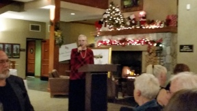 ROTWHS 2018 President, Jeannie Venturini graciously finishes her term at the 2018 Holiday Celebration.