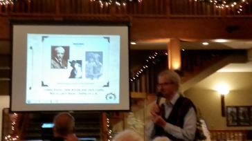 Russ Keller gives a entertaining slide show at the 2018 Holiday Celebration. Russ is the best!